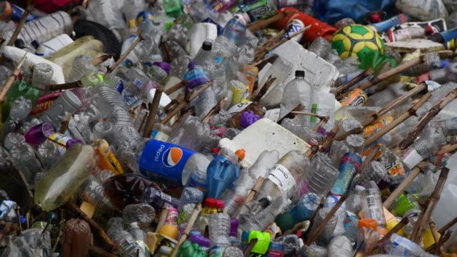 Plastic bottles are seen floating in the River Taff on September 9 2018 in Treforest United Kingdom Approximately 385 million plastic bottles are...