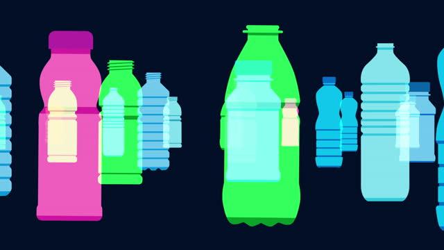 vídeos de stock, filmes e b-roll de animação de garrafas de bebidas plásticas - poluição do plástico