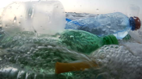 plastic pollution at sea - environmental issues stock videos & royalty-free footage