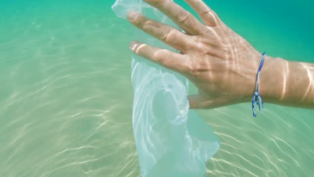 plastic in the ocean. environmental issues. cleaning the ocean, hand removing plastic bag. - bin bag stock videos & royalty-free footage