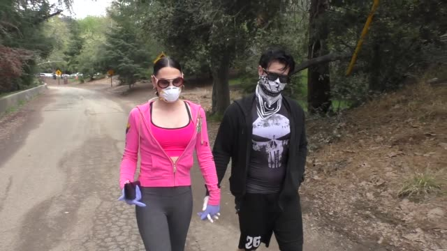 interview plastic martyr shares tips for people under the covid19 lockdown as she hikes franklin canyon at celebrity sightings in los angeles on... - hiking stock videos & royalty-free footage