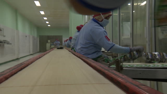 plastic packaging on a conveyor belt at a factory in indonesia - conveyor belt stock videos and b-roll footage