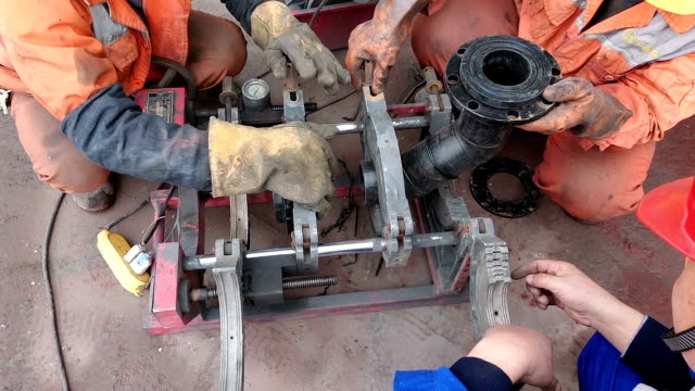 pvc plastic pipe welding repairman - polypropylene stock videos and b-roll footage