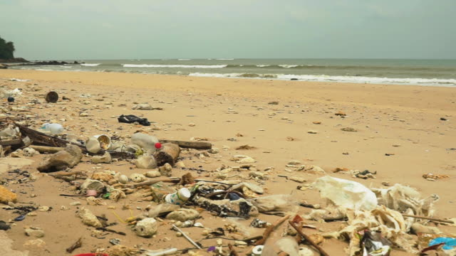 plastic pollution garbage dump washed up on a beach - bin bag stock videos & royalty-free footage