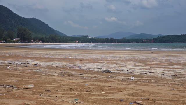 vídeos de stock e filmes b-roll de plastic pollution garbage litter washed up on a beach - utilização única