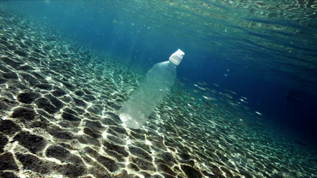plastic pollution in sea - bottiglia video stock e b–roll
