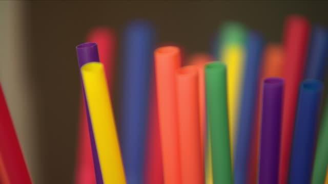 plastic straws - straw stock videos & royalty-free footage