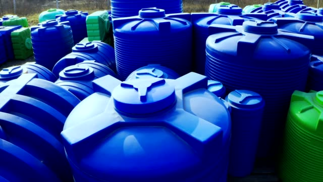 plastic tanks for water and chemical liquids - tank stock videos & royalty-free footage