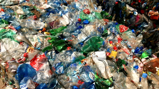 Plastic waste at recycling facility
