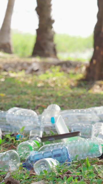stockvideo's en b-roll-footage met plastic afvalvervuiling, natuurreservaatconcept - achterover leunen