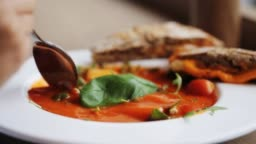 plate of delicious gazpacho soup at restaurant