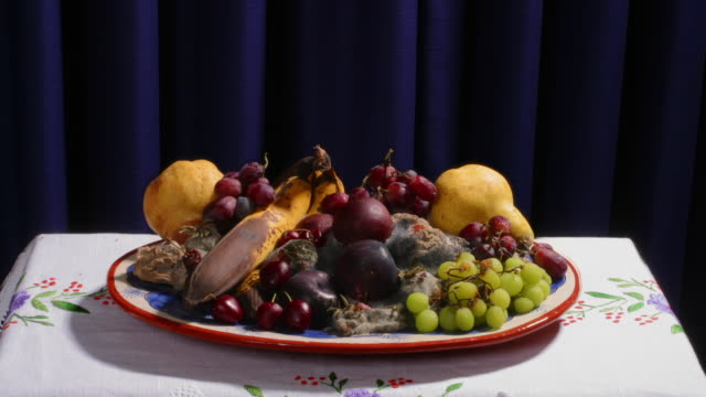 a plate of fruit quickly decays and forms mold. - decay stock videos & royalty-free footage