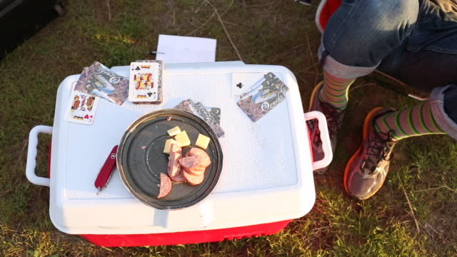 a plate of meat and cheese on top of a cooler with playing cards around it. - naturpark stock-videos und b-roll-filmmaterial