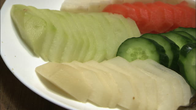 A Plate Of Vegetable Pickles, Fukuoka, Japan
