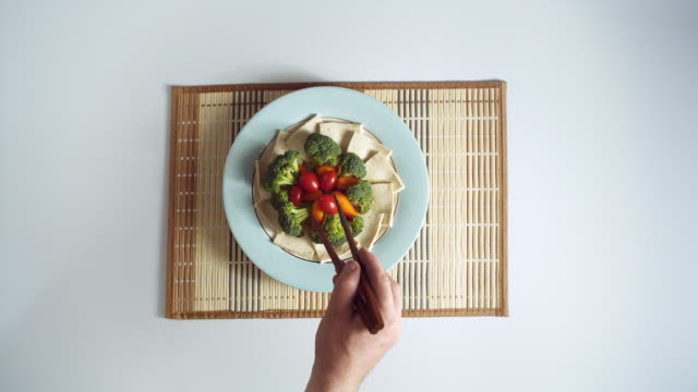 MS HA Plate with vegetables and tofu artfully arranged on mat