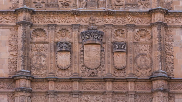 Plateresque facade in University of Salamanca, Salamanca city, Salamanca province, Castilla y Leon, Spain, Europe
