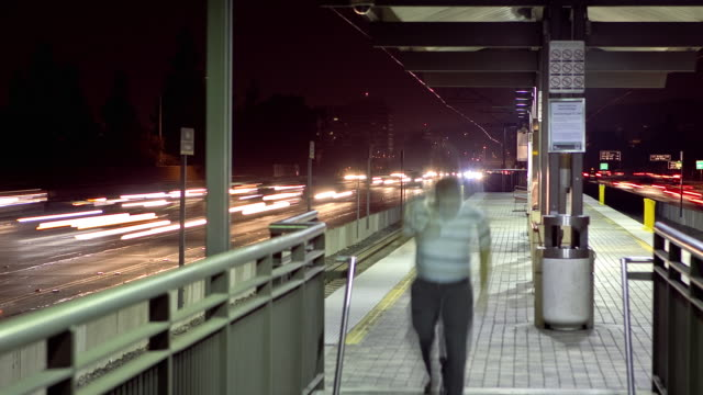 ws t/l platform at light rail station in center of los angeles / sierra madre, california, usa. - sierra madre stock-videos und b-roll-filmmaterial