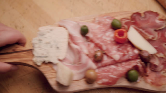 platter of meats and cheeses - tray stock videos and b-roll footage