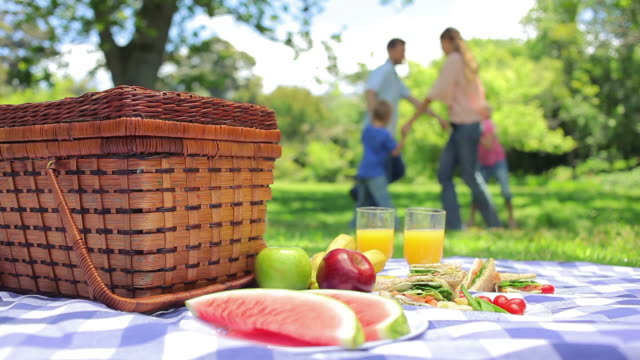 family jumping in a cirlcle in the background with a platter on a picnic basket in the foreground - picnic basket stock videos and b-roll footage