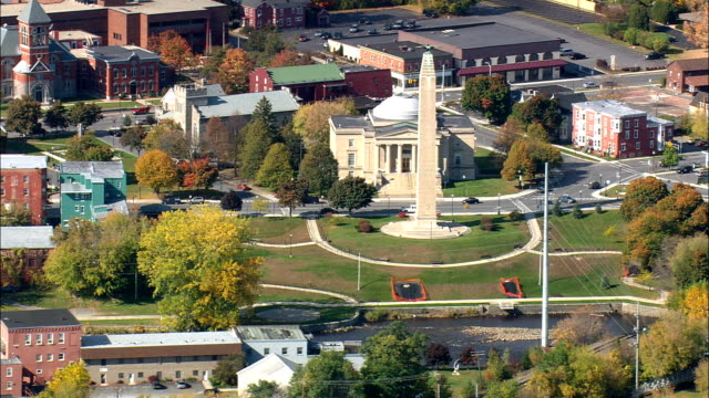 plattsburgh  - aerial view - new york,  clinton county,  united states - obelisk stock videos & royalty-free footage