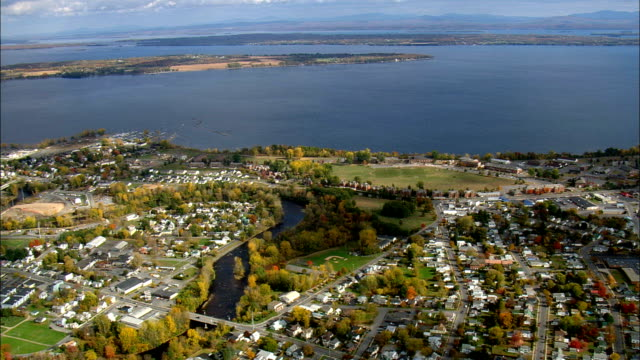 plattsburgh and lake champlain - aerial view - new york,  clinton county,  united states - plattsburgh stock videos and b-roll footage