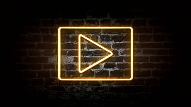 play icon neon sign - banner sign stock videos & royalty-free footage