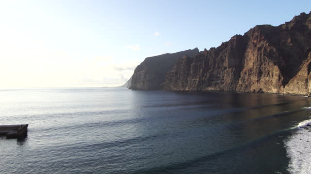 playa de los gigantes - tenerife island landmark - basalt stock videos & royalty-free footage