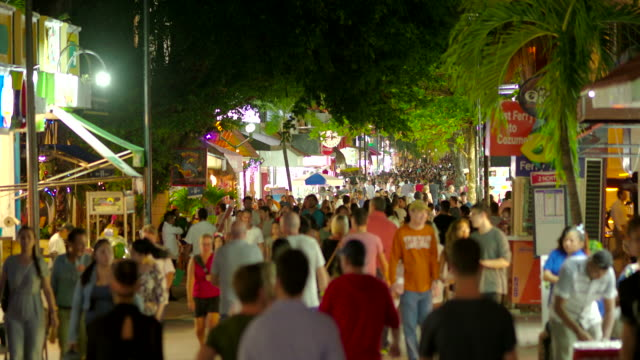 Playa del Carmen Pedestrian Street (5th Avenue) Full of Tourists at Night, Mexico
