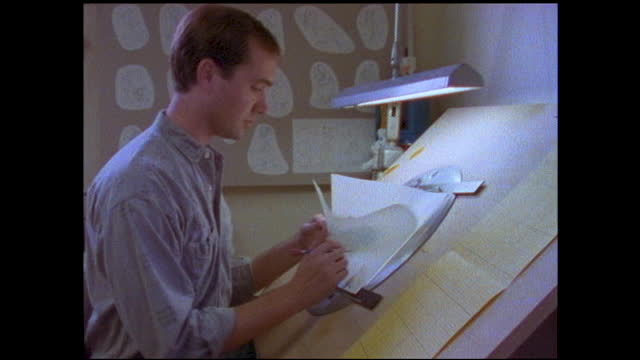 """different views of a man drawing in front of the drawing board; board on the wall """"pojo""""; close up of man smiling and sharpening his pencil with in... - animator stock videos & royalty-free footage"""