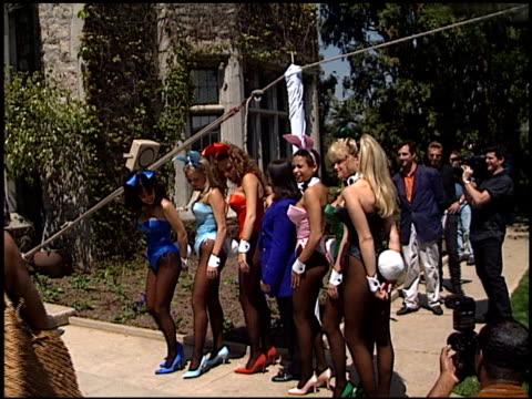 playboy bunnies at the 72nd birthday party for hugh hefner at playboy mansion in los angeles california on april 9 1998 - hugh hefner stock-videos und b-roll-filmmaterial