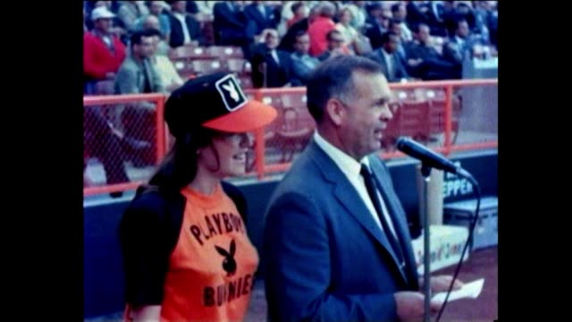 playboy bunny baseball angels baltimore orioles angel stadium 1960s. playboy bunnies play baseball against local los angeles disc jockeys at angels... - angel stadium stock videos & royalty-free footage