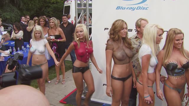 playboy mansion turns 'blu' for '08 espy awards kick off party at beverly hills california - playboy magazine stock videos & royalty-free footage