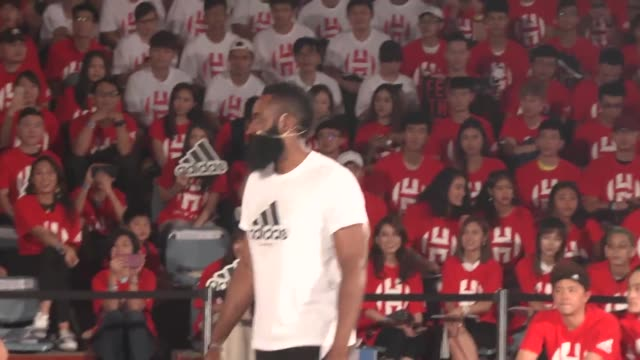 player james harden of houston rockets attends a fans meeting at fu jen catholic university on july 5, 2018 in new taipei city, taiwan of china. - taiwan stock videos & royalty-free footage