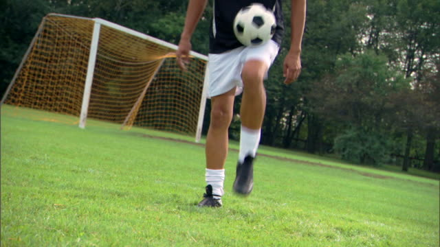 Player kicking around soccer ball