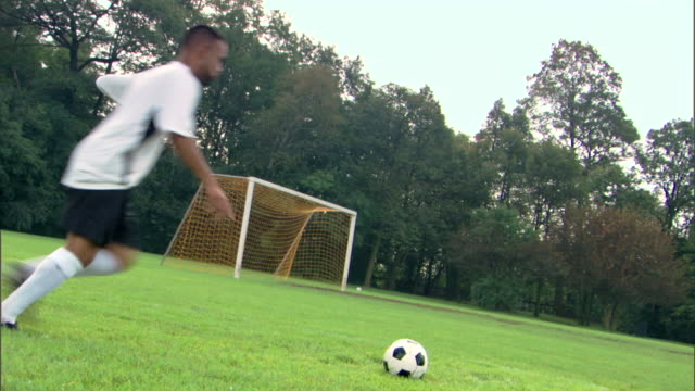 player kicking soccer ball into goal - see other clips from this shoot 1280 stock videos & royalty-free footage