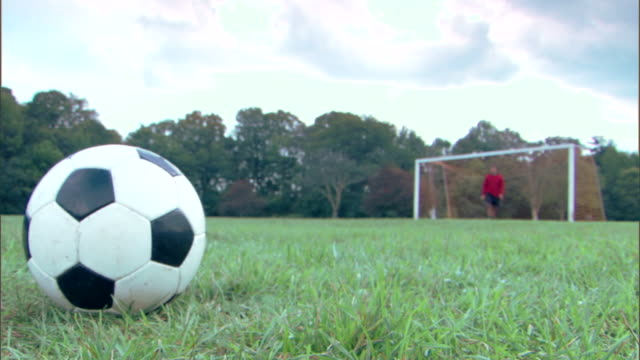 player kicking soccer ball to goalie - ブロックする点の映像素材/bロール