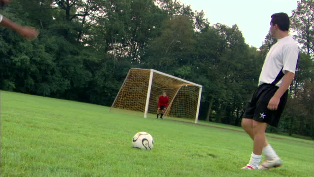player kicking soccer ball to goalie - see other clips from this shoot 1280 stock videos & royalty-free footage