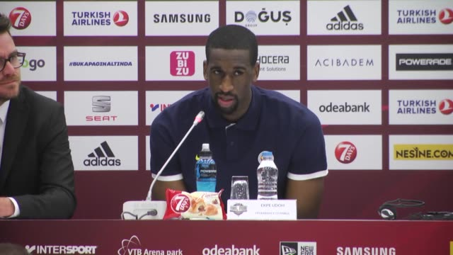 Players Ekpe Udoh of Fenerbahce and Georgios Printezis of Olympiacos Piraeus speak during press conference before the Turkish Airlines Euroleague...
