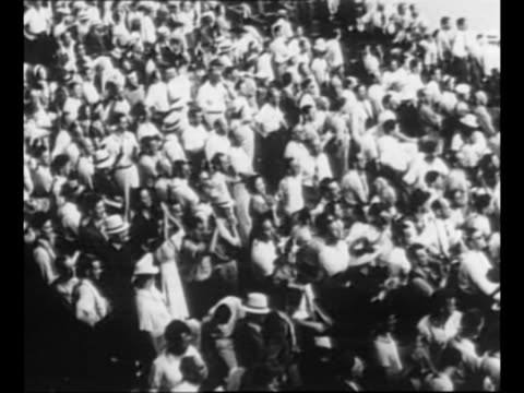 ws players from the 1927 world champion new york yankees team stand in lines near home plate at retirement ceremony for yankee player lou gehrig at... - lou gehrig stock videos & royalty-free footage