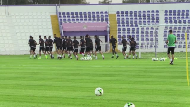 Players from the Moroccan national team trained Thursday at the Al Ain stadium in the UAE