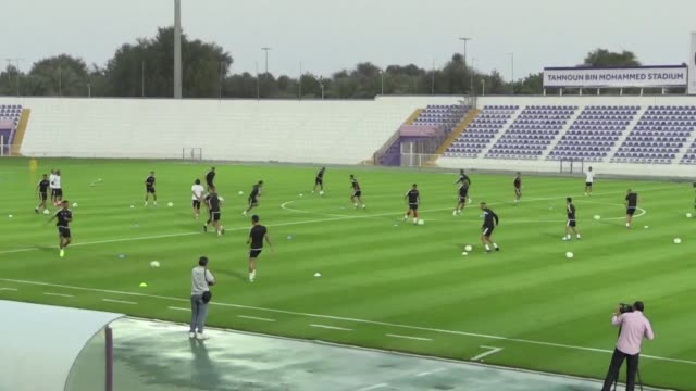 Players from the Moroccan national team trained Thursday at the AlAin stadium in the UAE