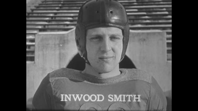 all players with names subtitles vs players monk moscrip / dick smith in jersey / john weller in helmet / wipe darrel lester / inwood smith helmet /... - helmet stock videos & royalty-free footage