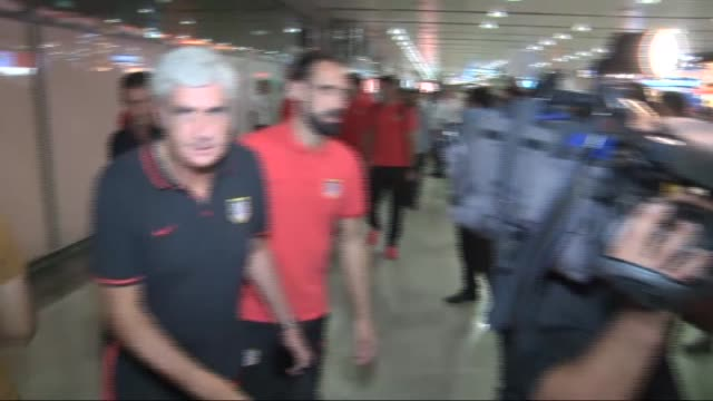 players of atletico madrid seen at ataturk airport as they arrive istanbul for uefa champions league group c match against galatasaray in istanbul... - uefa champions league stock videos and b-roll footage