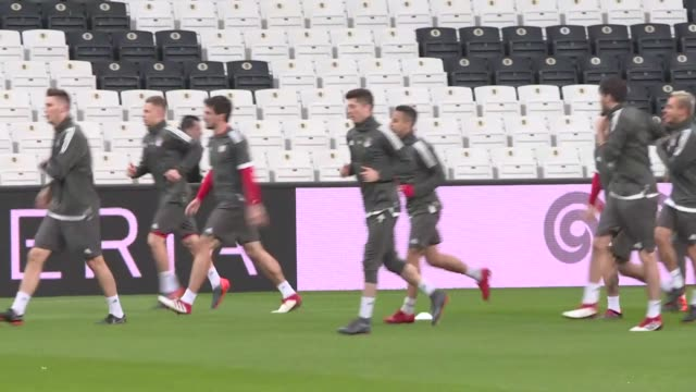 Players of Bayern Munich attend a training session ahead of the UEFA Champions League round of 16 second leg soccer match against Besiktas on March...