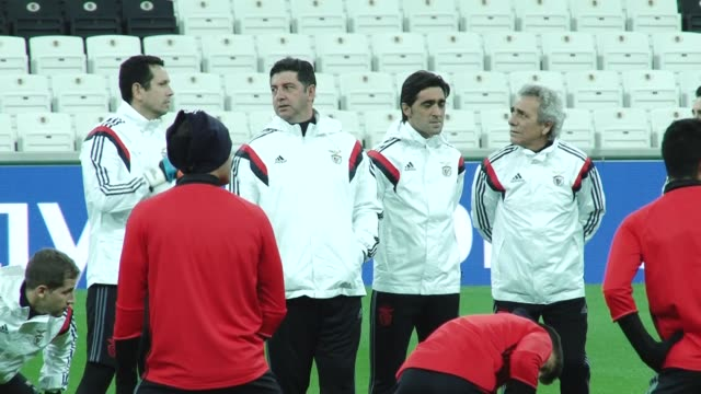 players of benfica attend training session ahead of the uefa champions league group b football match between besiktas and benfica at the vodafone... - besiktas stock videos and b-roll footage