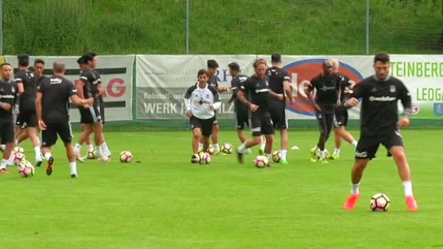 Players of Besiktas exercise in a training session during the training camp of Besiktas for the new season in Leogang town of Salzburg Austria on...