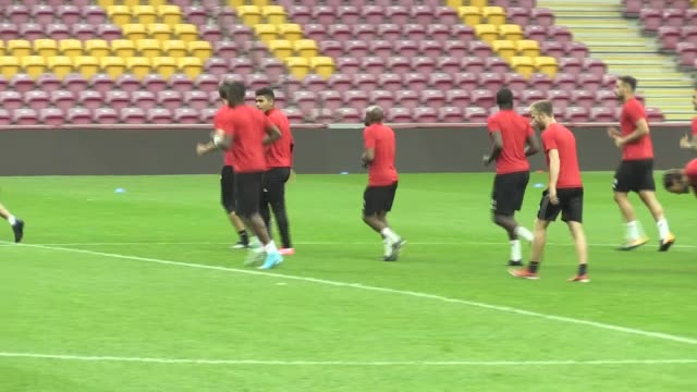 Players of Galatasaray attend a training session ahead of the UEFA Europa League second qualifying round return match between Galatasaray and...