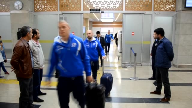 players of iceland arrive in konya turkey on october 11 2015 ahead of uefa euro 2016 qualifying group a match between turkey and iceland which will... - konya stock videos and b-roll footage