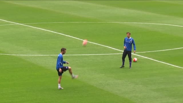 vídeos de stock, filmes e b-roll de players of iceland national football team attend a training session at torku arena ahead of the uefa euro 2016 qualifying group a match between... - euro 2016