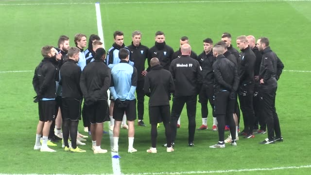 players of malmo attend training session ahead of the uefa europa league group i soccer match between besiktas and malmo at vodafone park in istanbul... - oresund region stock videos & royalty-free footage
